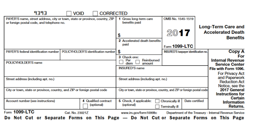 IRS Tax Form 1099-LTC